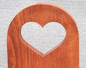 Vintage Wood Wall Plaque, Hanging With Heart Cut-Out and Note Pad