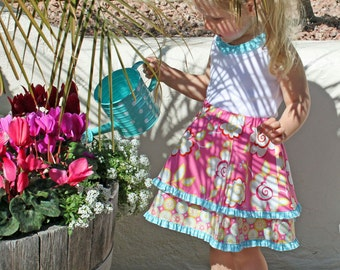 Girls circle skirt pattern, pdf sewing pattern, school dress double skirt, elastic waist, easy, DOUBLE TWIRL SKIRT