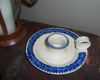 Striking Vintage Handmade Pottery Candle Holder