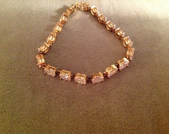 Vintage Sterling Silver and Cubic Zirconia Tennis Bracelet in gold finish