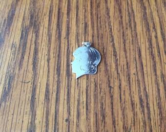 Vintage Sterling Silver Girl Charm or Pendant