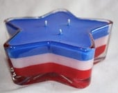 Citronella Star Candle Red White and Blue