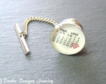 Personalized tie Tack ... Custom Calendar Tie Pin