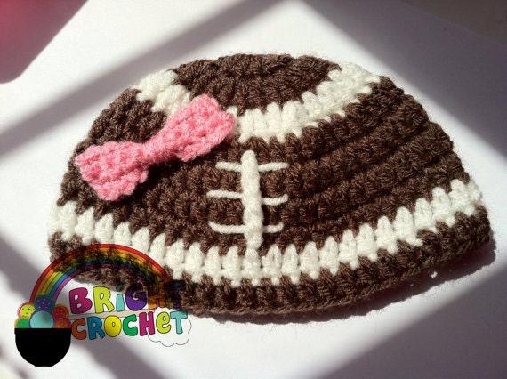 Baby Girl Football Crochet Bow Hat