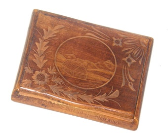 "Cigarette Box, Miniature, Carved, Poland, Souvenir, Engraved ""Happy Birthday"" in Polish, 1920"
