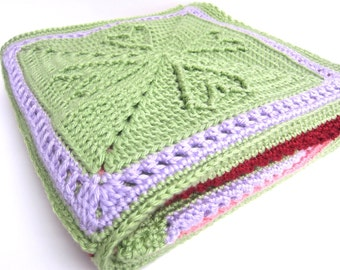 Hearts Granny Square Baby Afghan- custom made in your choice of colors - handmade by RockinLola