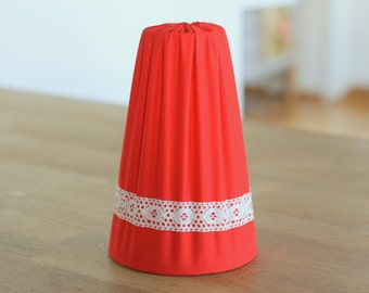 Retro Lamp Shade Crochet Red Vintage Scandinavian Small Lamp Shade