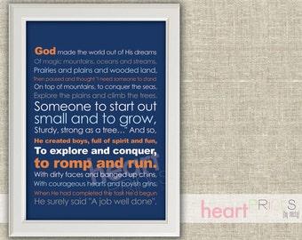 God made little boys (navy, orange, gray) - children and nursery art - printed copy - 8.5x11