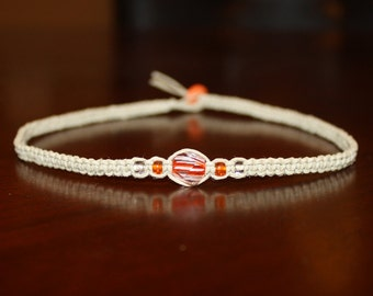 Hemp Choker Necklace Orange Clear Glass Beads - Womens Necklace for Her - Teen Girl Gifts for Girlfriend Jewelry for Boys Necklace for Kids