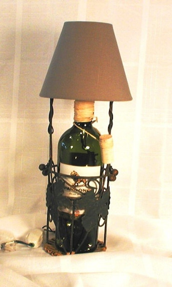 wine bottle lamp with shade mounted in a by crwinebottles. Black Bedroom Furniture Sets. Home Design Ideas