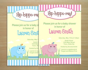 Hippo Baby Shower Invitation - Digital File (Printing Available)
