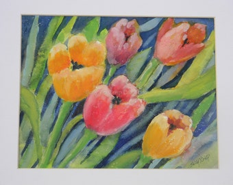 Cheerful Spring Tulip Flowers Pink and Orange Watercolor Art Print by Sally Tia Crisp