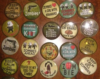 Zombie Birthday Party Favors 30 Pin Back Button Party Favors Assorted ZOMBIE 1.25 inch Buttons