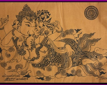 Thai traditional art of Ganesha by silkscreen printing on cotton