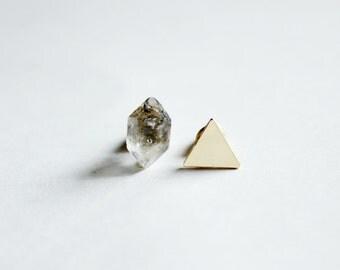 Gold triangle earrings Herkimer Diamond earrings geometric studs dainty earrings raw stone earrings minimal earrings mens earrings quartz