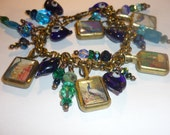 Peacocks and Hearts Charm Bracelet - SeagoddessEclectica