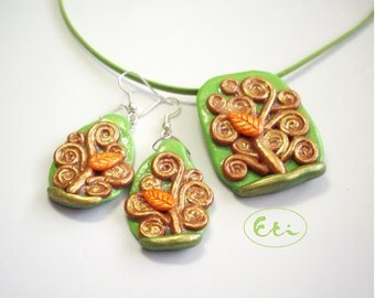 Tree of life jewelry, pendant and earrings, Klimt jewelry , green and orange tree, air dry clay, cold porcelain,