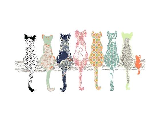 Childrens Art Cat Art Print Baby Girl Nursery Cat Decor