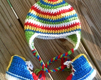 Crocheted High Top Booties and Striped Earflap Hat ~ baby ~ boy ~ infant ~ newborn