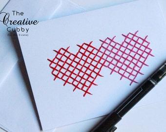 Hand Embroidered Cross Stitch Heart Valentine