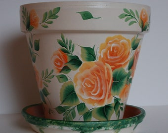 Hand Painted clay flower pot One Stroke peach / orange roses design 8 inches tall