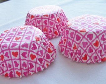50 Pink and red heart cupcake baking cups - Valentine cupcake liners - heart cupcake liners  - Valentines baking supplies