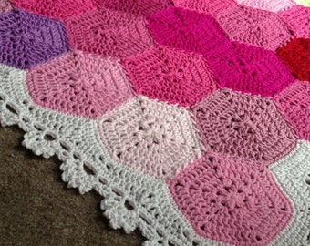 Pattern - BabyLove Brand NEW Updated - Geometric Lace Blanket - Crochet Pattern/Tutorial - rectangle throw - blanket is also available