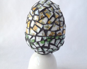 Egg-straordinary Mosaic Easter Egg RE4 w top and bottom halves in yellow white and green broken china pieces, and charcoal sanded grout