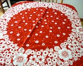 Daisy Fields Forever, Retro Modern Hippe Flowers Tablecloth / Large Round Tablecloth / 1970s West Germany Red and White