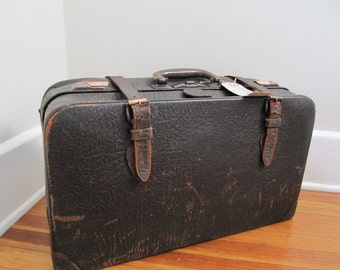 Luggage Antique Leather Case with Railroad Tag Still Attached