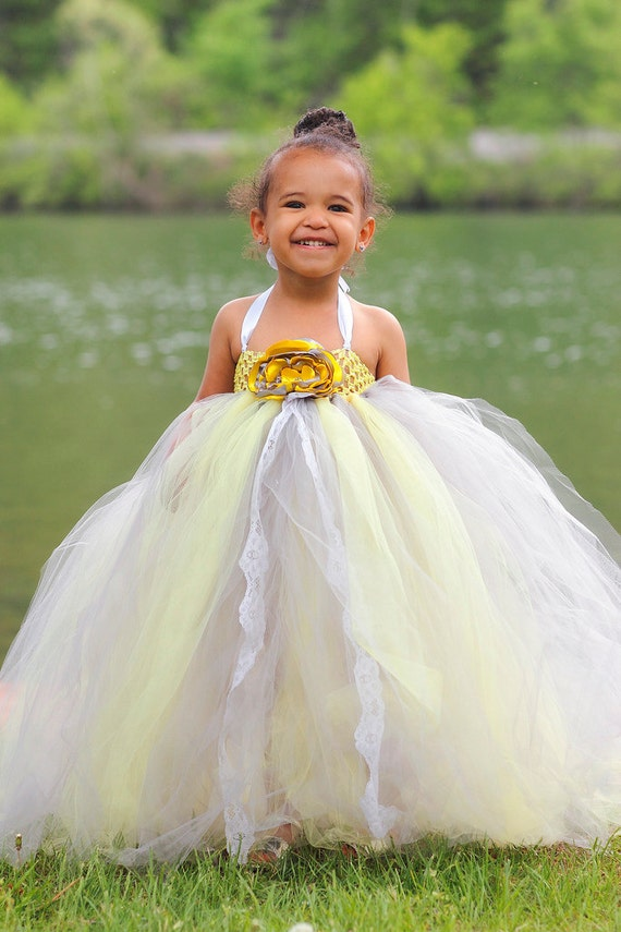 Items similar to gray and yellow flower girl tutu dress for Matching wedding and flower girl dresses