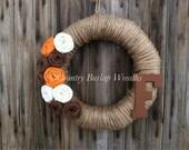 Jute Yarn Wreath with burlap flowers/ Personalized / Monogram