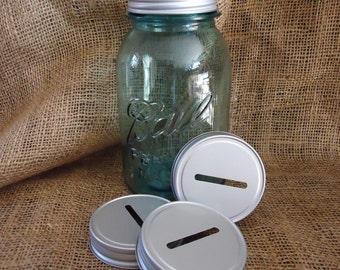 12 donation jar lids, Coin Jar Lids, fundraisers, Mason Jar bank lids, coin slot lids, Mason Jar Piggy Bank