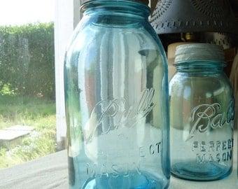 Aqua Blue Mason Jar, half gallon Ball Blue Mason Jar,