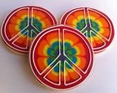 Tie Dye Peace Sign Cookies