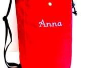 Beautiful Custom Made Bucket Style Tote Bag, RED CORDURA CANVAS, Embroidered with your Name or Initials