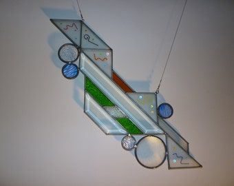 Abstract stained glass suncatcher with fused accents