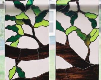Oak Tree Stained Glass Panels 2 of 4