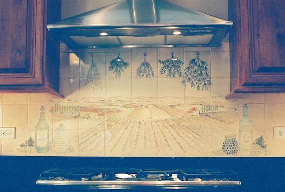 hand painted tuscan landscape tile backsplash mural