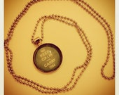 Silver keep calm and carry on necklace 80cm long