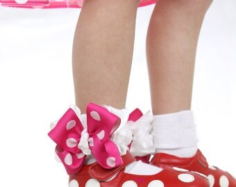 Frilly Bow Socks, Baby Girls Socks, Hot Pink White Socks, Polka Dots Ruffle Ribbon Socks, Pageant Bow Socks, Dance Costume Dress Up Socks