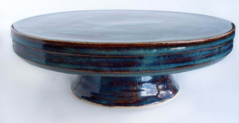 Cake Plate On Pedestal Pottery Cake Stand Stoneware Dessert