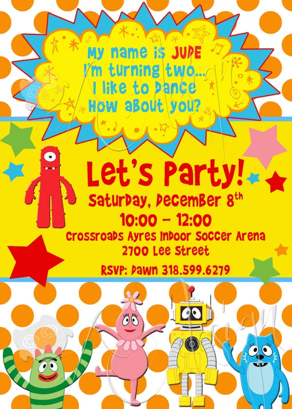 Yo Gabba Gabba Custom Birthday Invitations Printable DIY