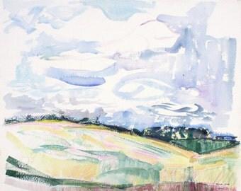 Original Watercolor Painting, Rustic Landscape Watercolor, Fields