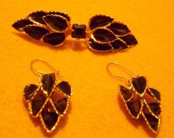 Vintage Black and Gold Baked Enamel Brooch and Earring Set