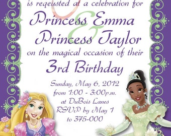 Disney Princess invitation - Rapunzel and Tiana