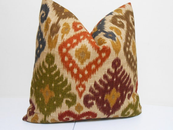 Items similar to Red- Purple- Green- Blue - Brown Ikat Pillow Cover- Dualee Ikat Fabric ...