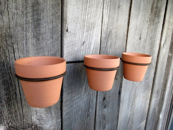 terra cotta flower pots with wall support rack wall hanging. Black Bedroom Furniture Sets. Home Design Ideas