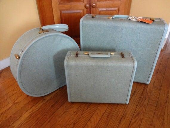 Vintage Samsonite Turquoise Luggage Set 3 Pieces Mid Century