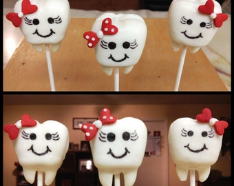 Adorable Tooth (Teeth) Cake Pops